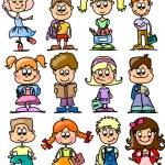 Cute schoolboys and schoolgirls, School elements — Stock Vector #14764453