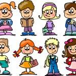 Cute schoolboys and schoolgirls, School elements — Stock Vector #14764509