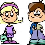 Cute schoolboys and schoolgirls, School elements — Stock Vector #14764617