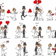 Set of wedding pictures - Stock Vector