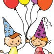 Children hold balloons, greeting card, vector - Vettoriali Stock