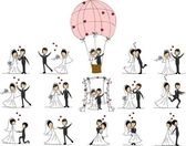 Cartoon wedding pictures — Vecteur