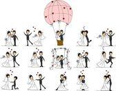 Photos de mariage de bande dessinée — Vecteur