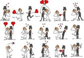 Sada svatební fotografie — Stock vektor