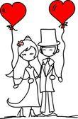 Wedding pictures, bride and groom in love, the vector — Cтоковый вектор