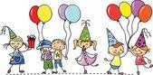 Crianças segurar balões, cartão postal, vetor — Vetor de Stock