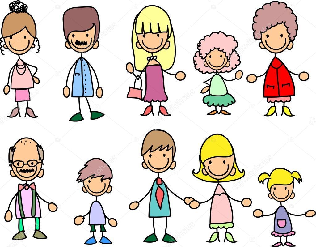 Meninos E Meninas De Nacionalidades Diferentes Childre: Šťastná Rodina, Drželi Se Za Ruce A S úsměvem