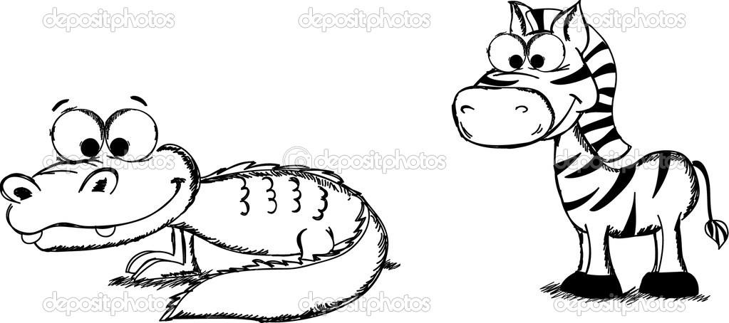 斑马动物简笔画图片大全