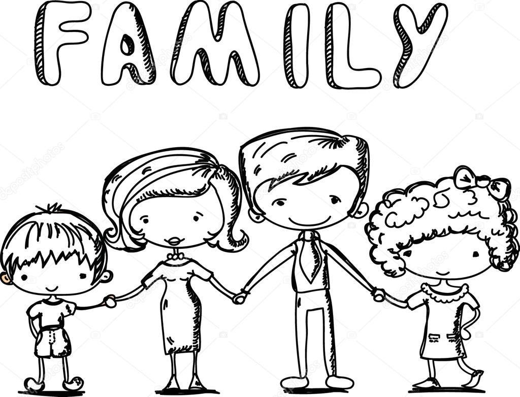Feliz Personas Exitosas En Caricaturas: Família Feliz, De Mãos Dadas E A Sorrir