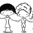 Stock Vector: Cute kids holding hands, black and white cartoon picture