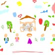 Royalty-Free Stock Vektorfiler: Childish drawing of the family
