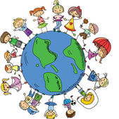 Cute children holding hands around the globe, the vector — Stock Vector