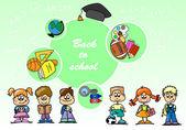 卡通儿童、 学生 — 图库矢量图片