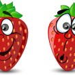 Emotion cartoon strawberries — Image vectorielle