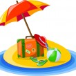 Travel background, palm and suitcase - Imagen vectorial