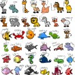 Big set of cartoon animals, vector - Stok Vektör