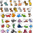 Big set of cartoon animals, vector - Stock Vector