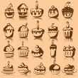 Stock Vector: Set of 9 vector cupcakes