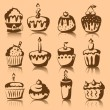 Set of 9 vector cupcakes — Stock Vector