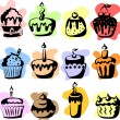 Stock Vector: Set of 12 vector cupcakes