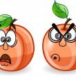 Stock Vector: Cartoon peaches with emotions