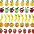 Cartoon oranges, bananas, apples, strawberries,pears with emotions — Stock Vector