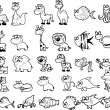Stock Vector: Big set of black and white cartoon animals, vector