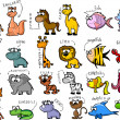 Big set of cartoon animals — Stock Vector #18768413
