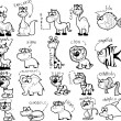 Big set of cartoon black-white animals — Stock Vector #18768497
