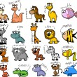 Big set of cartoon animals — Stock Vector