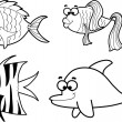Marine fishes, vector illustration — Stock Vector