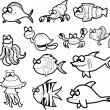 Big set of vector cartoon fishes — Stock Vector
