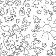 Stock Vector: Kids drawing seamless pattern