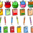 Cartoon school bags, pencils, books, notebooks — Stock Vector
