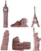 Monumentos arquitectónicos, inclinada Torre de pisa, la torre eiffel, big ben, el Coliseo, las pirámides, la estatua de la libertad — Vector de stock