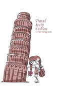 Travel background, the Leaning Tower and fashionable girl — Stock Vector