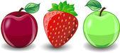 Мультфильм клубники и яблоки — Cтоковый вектор