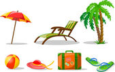 Travel icons, palm, ball, lounge, umbrella, bucket with a shovel, flip-flops and suitcase — Stock Vector