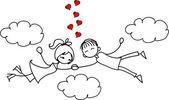 Saint-valentin doodle garçon et fille, vector — Vecteur