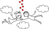 Valentine doodle boy and girl, vector — Vector de stock