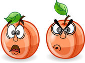 Cartoon peaches with emotions — Stock Vector