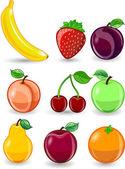 Cartoon orange, banana, apples, strawberry, pear, cherry, peach, plum, lemon, grapes, watermelon, raspberry — Stock Vector