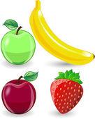 Cartoon orange, banana, apples, strawberry — Stock Vector