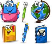 Kreslené školní tašky, tužky, knihy, poznámkové bloky, pero, zeměkoule — Stock vektor
