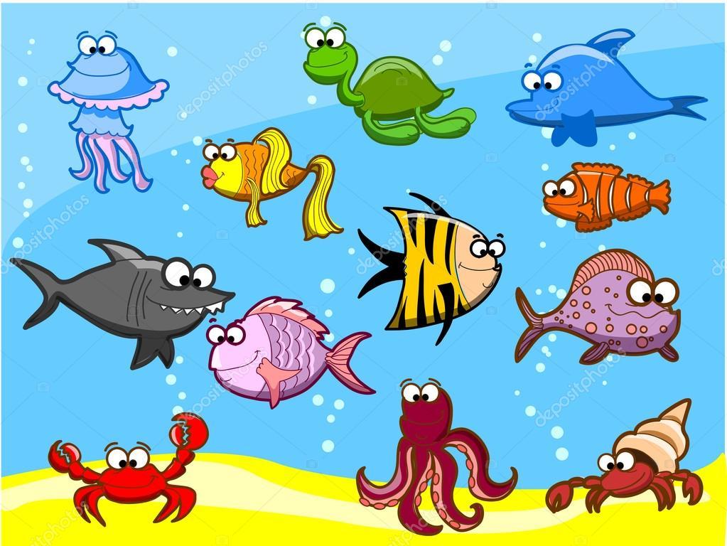 Colorido Angry Birds Personagens Vector: Dibujos Animados De Peces En El Mar, Ilustración Vectorial