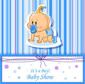 Announcement card with baby boy, vector background — Stock Vector