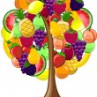 Tree with a variety of fruits, vector — Stockvectorbeeld