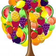 Stock Vector: Tree with variety of fruits, vector