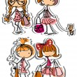 Cartoon fashionable girls — Stock vektor