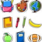 Cartoon school bag, pencil, book, notebook, pen, globe, palette of paints — Stock Vector #19468985